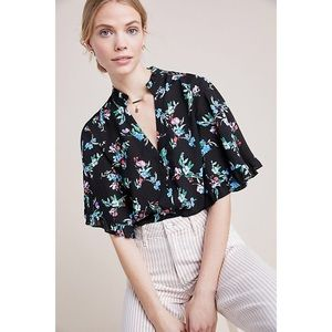 Anthropologie Maeve Aveiro Flutter Sleeve Top